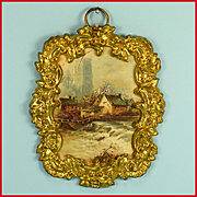 """Antique German Dollhouse Ormolu Picture Frame by Erhard and Son Late 1800s 1"""" Scale"""
