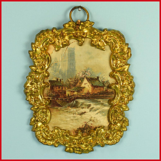 "Antique German Dollhouse Ormolu Picture Frame by Erhard and Son Late 1800s 1"" Scale"