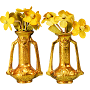 "Brilliant Pair of Dollhouse Miniature Ormolu Vases with Flowers by Erhard and Son Late 1800s 1"" Scale"