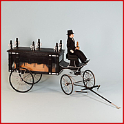 "Handcrafted Dollhouse Miniature Horse Drawn Hearse by Roy Peters 1"" Scale"