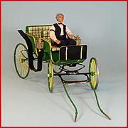 "Handcrafted Dollhouse Miniature Horse Drawn Carriage by Roy Peters 1"" Scale"