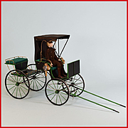 "Handcrafted Dollhouse Miniature Horse Drawn Buggy by Roy Peters 1"" Scale"