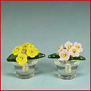 "Pair of Vintage Czech Glass Flower Place Card Holders Dollhouse Miniatures Large 1"" Scale"