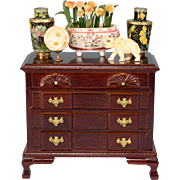 """Dollhouse Miniature Wooden Chippendale Chest of Drawers by Fantastic Merchandise with Oriental Accessories 1980s 1"""" Scale"""