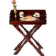 """Dollhouse Miniature Wooden Tray Table by Fantastic Merchandise with Breakfast Accessories 1980s 1"""" Scale"""