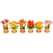 """Set of 6 Dollhouse Miniature Erzgebirge Potted Flowers in Original Box Made in East Germany 1"""" scale"""