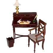 """Dollhouse Miniature Ladies Desk and Arm Chair by Fantastic Merchandise with Desk Accessories 1980s 1"""" Scale"""