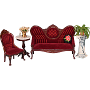 """Dollhouse Miniature Victorian Parlor Suite Sofa and Chair 1980s 1"""" Scale"""