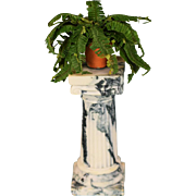 "Marbleized Porcelain Column by Vince Stapleton Early 1987 with Boston Fern 1"" Scale"
