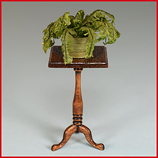 """House of Miniatures Chippendale Candlestand with Boston Fern 1980s 1"""" Scale"""