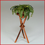 "Dollhouse Miniature Artisan Rustic Plantstand with Boston Fern 1980s 1"" Scale"