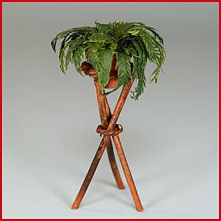 "Dollhouse Miniature Artisan Rustic Plantstand with Boston Fern 1980s 1"" Scale"