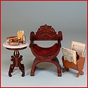"Dollhouse Miniature Curule Chair and Marble Top Side Table by Fantastic Merchandise with Accessories 1980s 1"" Scale"