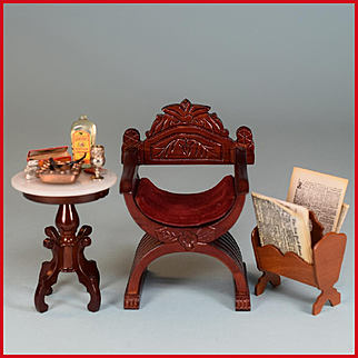 """Dollhouse Miniature Curule Chair and Marble Top Side Table by Fantastic Merchandise with Accessories 1980s 1"""" Scale"""