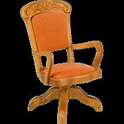 """Dollhouse Miniature Oak Swivel Desk Chair by Fantastic Merchandise 1980s 1"""" Scale"""