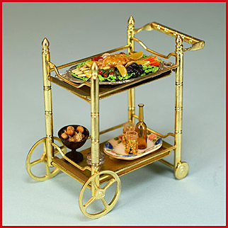 """Dollhouse Miniature Brass Tea Cart by Concord Miniatures with Accessories Mid 1990s 1"""" Scale"""