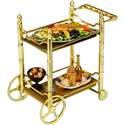 "Dollhouse Miniature Brass Tea Cart by Concord Miniatures with Accessories Mid 1990s 1"" Scale"