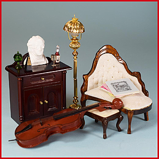 "Dollhouse Miniature Music Room Furnishings Mid 1990s 1"" Scale"