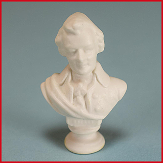 "Dollhouse Miniature Porcelain Bisque Bust of Mozart by Vince Stapleton 1981 1"" Scale"