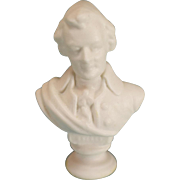 "Dollhouse Miniature Porcelain Bisque Bust of Mozart by Vince Stapleton 1981 1"" Scale"