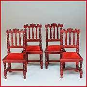 "Set of 4 Victorian Style Dining Chairs by Fantastic Merchandise 1980s 1"" Scale"