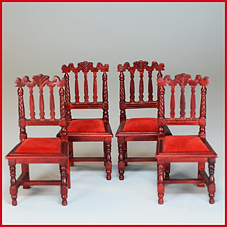 """Set of 4 Victorian Style Dining Chairs by Fantastic Merchandise 1980s 1"""" Scale"""