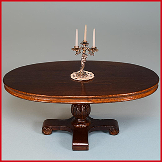 """Dollhouse Miniature Victorian Style Oval Pedestal Dining Table by Sterling Hall 1990s 1"""" Scale"""