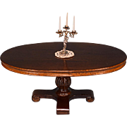 "Dollhouse Miniature Victorian Style Oval Pedestal Dining Table by Sterling Hall 1990s 1"" Scale"