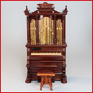 """Dollhouse Miniature Pipe Organ and Swivel Bench by Bespaq Mid 1990s 1"""" Scale"""
