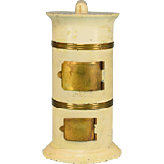 "Antique Dollhouse Round Cream Enamel Tin Parlor Stove Mid 1800s Large 1"" Scale"