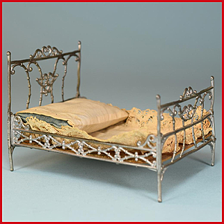 """Antique Soft Metal Dollhouse Bed by Adrian Cooke Late 1800s 1"""" Scale"""