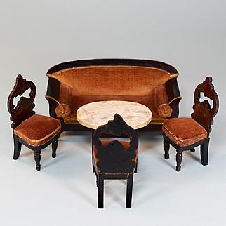 """Kestner Biedermeier Dollhouse 5 Pc. Parlor Suite Mid Victorian 1"""" Scale"""