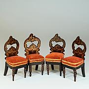 "Set of 4 Antique Biedermeier Dollhouse Side Chairs by Kestner Mid Victorian 1"" Scale"