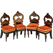 "Set of 4 Antique Biedermeier Dollhouse Side Chairs by Kestner Mid Victorian 1"" Scale"