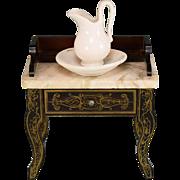 "Antique German Biedermeier Washstand with Bowl & Pitcher Mid Victorian 1"" Scale"