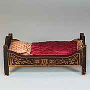 "Antique Dollhouse Biedermeier Boulle Bed Late 1800s Small 1"" Scale"