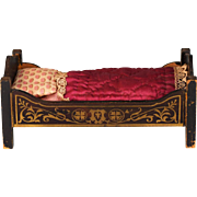"Antique Dollhouse Biedermeier Boulle Bed Late 1800s Small 1"" Scale"