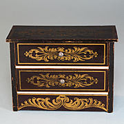 "Antique German Dollhouse Biedermeier Boulle Chest of Drawers 1880s – 1890s Large 1"" Scale"