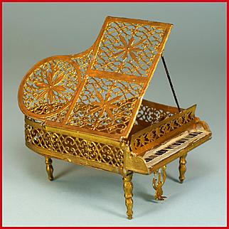 "Antique Dollhouse Gilt Soft Metal Piano Small 1"" Scale 1900 - 1910"