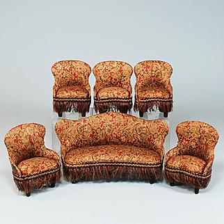 "6 Pc. Antique Dollhouse German Parlor Furniture Suite late 1800s 1"" Scale"