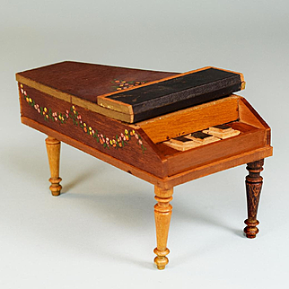 """Antique German Dollhouse Baby Grand Piano by Schneegas 1840s – 1860s 1"""" Scale"""