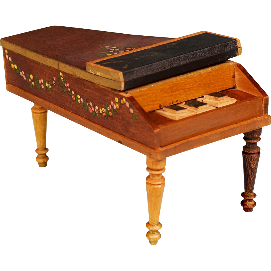 Antiques Collectibles: Antique German Dollhouse Baby Grand Piano By Schneegas