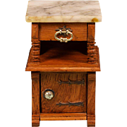 "Antique German Dollhouse Marble Top Oak Nightstand Early 1900s Large 1"" Scale"