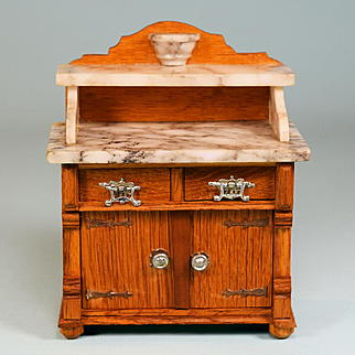 """Antique German Dollhouse Marble Top Oak Washstand Early 1900s Large 1"""" Scale"""