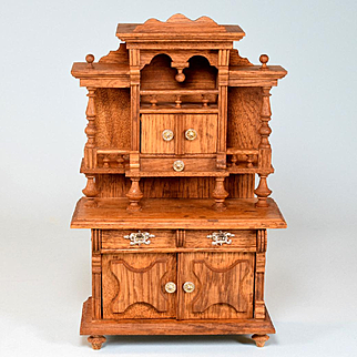 """Antique German Dollhouse Golden Oak Hutch China Cabinet Early 1900s Large 1"""" Scale"""