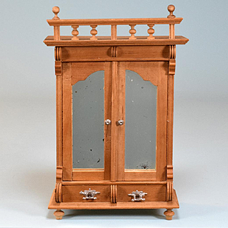 """Antique German Dollhouse Wardrobe with Mirrored Doors Early 1900s Large 1"""" Scale"""