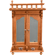 "Antique German Dollhouse Wardrobe with Mirrored Doors Early 1900s Large 1"" Scale"
