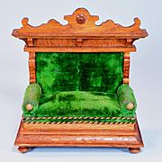 """Antique Dollhouse German Oak Sofa with Green Velvet Upholstery Early 1900s Large 1"""" Scale"""