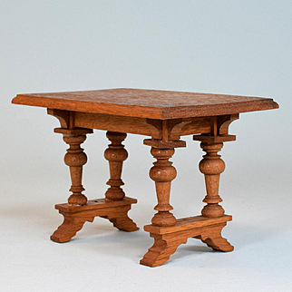 """Antique German Dollhouse Oak Table Early 1900s Large 1"""" Scale"""