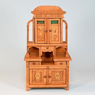 "Antique German Dollhouse Oak Hutch Early 1900s Large 1"" Scale"